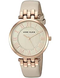 Anne Klein Women's AK/2618RGIV Rose Gold-Tone And Ivory Leather Strap Watch