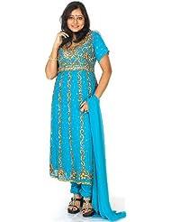 Exotic India Turquoise-Blue Anarkali Suit With Antique-Beadwork - Turquoise