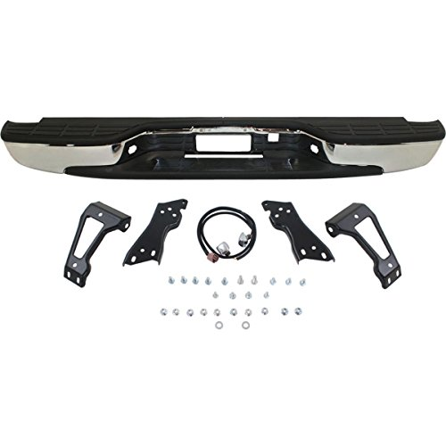 MBI AUTO – NEW Complete Chrome Rear Step Bumper Assembly For 1999-2006 Chevy Silverado GMC Sierra 1500 Truck GM1103122
