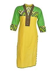 Global Women's Cotton Straight Kurta (GW32YellowS015, Yellow, S)