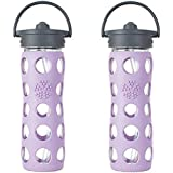 Lifefactory Glass Bottle With Straw Cap Bundle - 2 Items: 16 Ounce Bottles Lilac