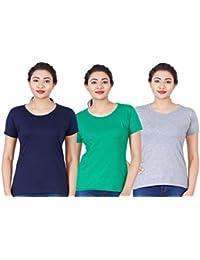 Fleximaa Women's Cotton Round Neck T-Shirt Plain (Pack Of 3) - Pakistan Green, Navy Blue & Grey Milange Colors.
