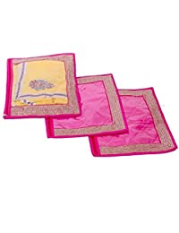 Kuber Industries Single Packing Saree Cover Set Of 3 Pcs (Designer Lace) - B01G9A65GM