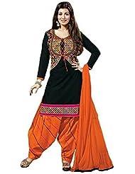 Shiroya Brothers Women's Cotton Printed Unstitched Regular Wear Salwar Suit Dress Material(SB_Black_Free_Size)