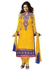 Limemode Women's Cotton Semi Stitched Dress Material (WASS000075_Yellow_Fr...