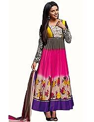 Glamouratic Designer Georgette Pink Embroidered Wedding Saree