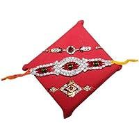 Handicrunch Rakhi Set Of 3 Designer White Stone Rakhi Set With Bikaji Rasgulla