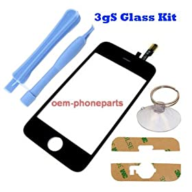 Apple Iphone -3gS Only- Replacement Front Glass and Digitizer -2 Tools, Suction Tool and Adhesive - Repair Your Cracked Glass