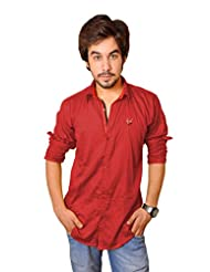 Nation Polo Club Men's 100% Cotton Lycra Coduroy Pattern Slim Fit Casual Maroon Color Shirt