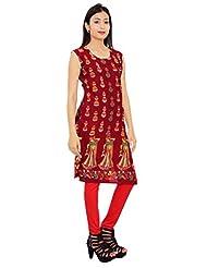 Kurti Studio Womens Excellent Maroon Printed Jaipuri Cotton Kurti