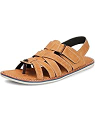 BACCA BUCCI MEN TAN ARTIFICIAL LEATHER SANDALS - B01G8OHYYQ