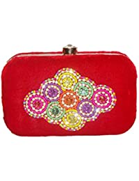 Pashan Kala Hand Embroidery Beaded Clutch For Women Evening Party(Red)