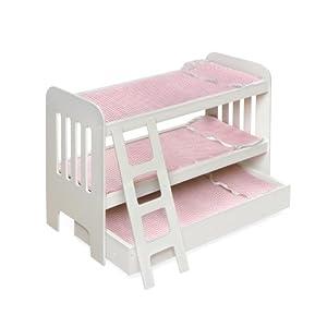 Badger Basket Trundle Doll Bunk Beds With Ladder - Pink/White