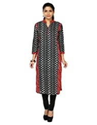 Alzara Women's Cotton Zig-Zag Printed Straight Kurta