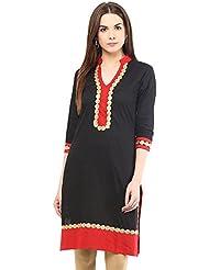 Indi Dori Cotton Black Laced Neck Kurti-Black