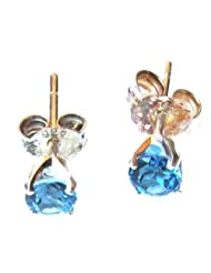 P D Diamonds Blue Topaz Earring Pair Studs For Womens In Silver 925