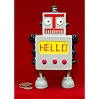 Whimsy Grey Robot Hello Coin Piggy Bank