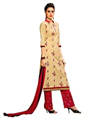 Inddus Women Beige Embroidered Unstiched Dress Material