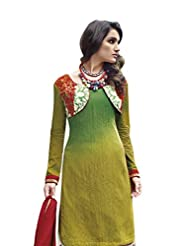 Olive Green Colour Faux Cotton Party Wear Paisley Print & Embroidered Short Jacket Plazo Suit (Jinaam) 9077A - B015EDBO4I