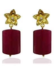Aastha Jain Red Zade Quartz Sterling Silver Rectangle(18k Gold Plated) Earring For Women