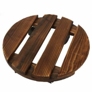Removable Wooden Flower Pot Pallet Garden Flowerpot Holder With Universal Wheels (35x35cm, Shape:round)