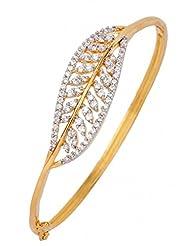 The Jewelbox American Diamond CZ Leaf Celestra Openable Kada Bangle Bracelet