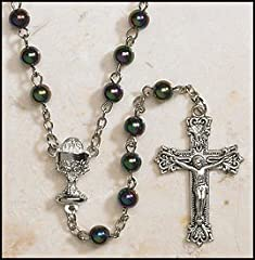 Catholic Boys Rosary, Black First Communion Rosary. Great for Boys, 6mm Bead Ab. Chalice Centerpiece and Crucifix