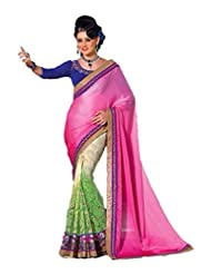 AG Lifestyle Pink & Green Satin Chiffon & Jacquared Saree With Unstitched Blouse ASL806
