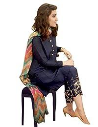 1 Stop Fashion Designer Suit Blue Semi Stitched Banglori Silk Straight Cut Salwar Suit