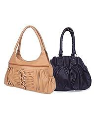 Arc HnH Women Combo Handbag Pretty Black + Magnificent Beige