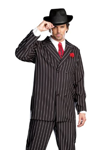 Great Group Halloween Costumes: The Addams Family - Dreamgirl Men's Gangsta Costume, Black/White
