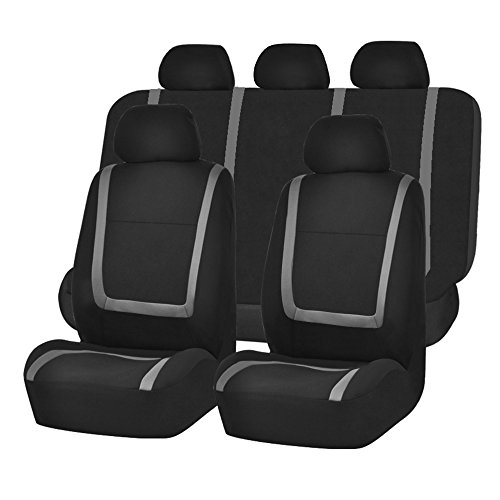 FH-FB032115 Unique Flat Cloth Seat Cover w. 5 Detachable Headrests and Solid Bench Gray/Black- Fit Most Car, Truck, Suv, or Van