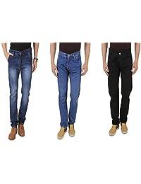 UK Blue Men Jeans Combo Of Dark Blue, Light Blue And Black Jeans