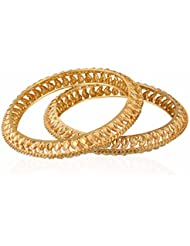 Vedika Jewellery Designer Leaf Gold Plated Alloy Bangles Set For Women(Set Of 2) (Sizes 2.10, 2.8, 2.6 And 2.4)
