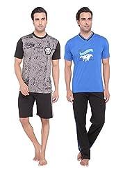 Men's Casual Top, Pyjama & Shorts Set Combo By Valentine - B01BSMA6K2