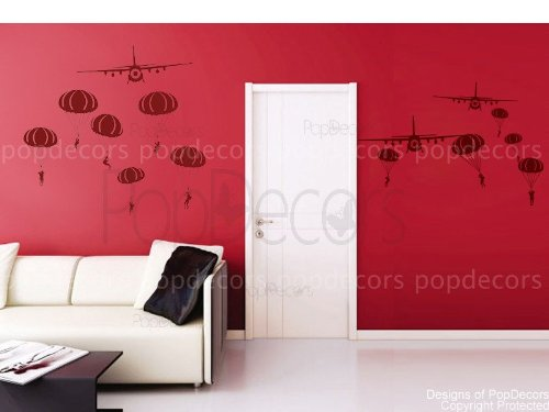 PopDecors - Paratrooper And Airplanes - Custom Beautiful Tree Wall Decals For Kids Rooms Teen Girls Boys Wallpaper...