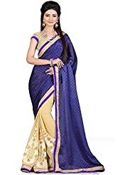 Lovely Violet & Cream Embroidered Party Wear Saree With Matching Blouse