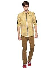 Mens Shirt - Mens Casual Shirt - Long Sleeves - Yellow Color - By Zorro