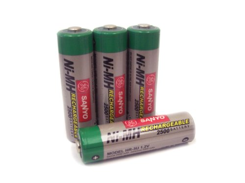 Sanyo 2,500 mAh AA NiMH Rechargeable Batteries (4-Pack) On