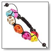Multi-Color Stone Skull Bead Shamballa Bracelet