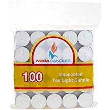 Mega Candles - Unscented Tea Light Candles - White, Set Of 100 By Mega Candles