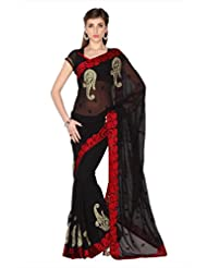 Designersareez Women Black Faux Georgette Saree With Unstitched Blouse (1774)