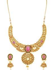 SKJ Golden Copper Strand Necklace Set For Women (460)