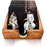 Second May – Wooden Coaster Antique Design 6 Tea/Coffee Coaster Set