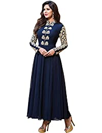 Purva Art Women's New Long Sleeve Navy Blue Cotton Thread Work Semi Stitched Dress (Semi-stitched_Color_Navy Blue_Embroidery...