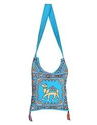 Rajrang New Fashion Elephant Printed Cotton Embroidered Work Turquoise Sling Bag
