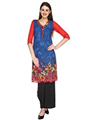Fashion205 Blue And Red Printed Georgette Long Kurti - B00ZL7NRZM