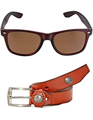 MagJons Combo Of Brown Leather Belt And Wayfarer Sunglasses For Men With Box - B01DY9N9V0