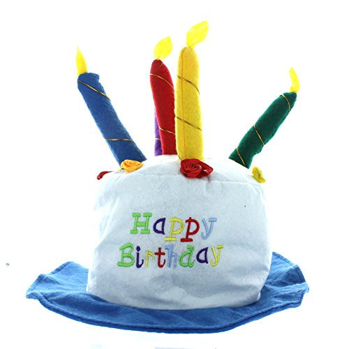 Felt Childs Party Happy Birthday Cake Hat With Candles - Fel