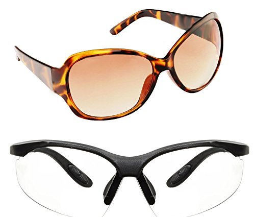 New Stylish UV Protected Combo Pack Of Sunglasses For Women / Girl ( BrownButterfly-ClearNightVision ) ( CM-SUN...